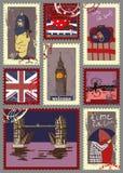 Selos postais para o tema de Londres Imagem de Stock