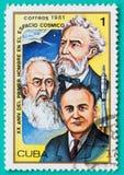 Selos postais usados com impresso nos temas do espaço de Cuba Imagens de Stock