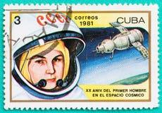 Selos postais usados com impresso nos temas do espaço de Cuba Foto de Stock