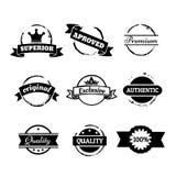 Selos preto e branco e crachás retros do vetor isolados no branco Fotos de Stock Royalty Free