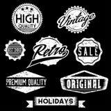 Selos retros e crachás do Grunge preto e branco Fotografia de Stock Royalty Free