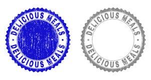 Selos riscados do selo do Grunge REFEIÇÕES DELICIOSAS ilustração do vetor