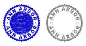 Selos Textured do selo do Grunge de ANN ARBOR ilustração stock