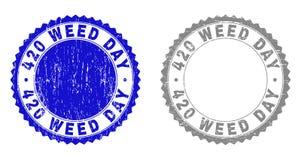 420 selos Textured do selo do Grunge do DIA da ERVA DANINHA com fita ilustração royalty free