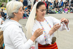 Selphi with a participant in the Nestinar Games in the village of Bulgari, Bulgaria Stock Images