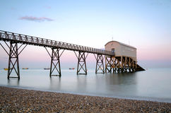 Selsey Bill lifeboat station. In West Sussex at sunset Royalty Free Stock Image
