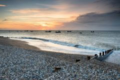 Selsey on the West Sussex coastline. Sunrise over the beach at Selsey on the West Sussex coastline stock photography
