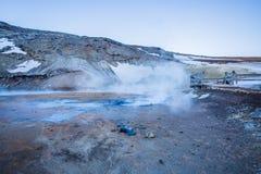Seltún geotermiskt fält, Krýsuvík, Reykjanes, Island Arkivbilder