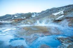 Seltún geothermal field, Krýsuvík, Reykjanes, Iceland. Smoking Seltún geothermal field, Krýsuvík, Reykjanes, Iceland Stock Photo