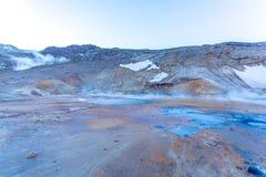 Seltún geothermal field, Krýsuvík, Reykjanes, Iceland. Smoking Seltún geothermal field, Krýsuvík, Reykjanes, Iceland Royalty Free Stock Image