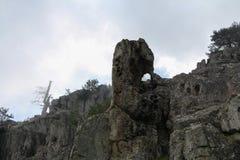 Seltsame Felsformation auf Wanderweg, Corse, Frankreich Stockfotografie