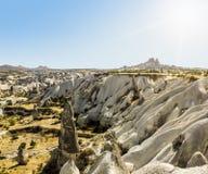 Seltsame Felsformationen des vulkanischen Tuffs in Cappadocia Stockbild