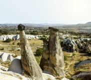 Seltsame Felsformationen von Cappadocia, die Türkei stockfotografie