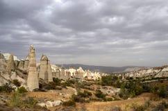Seltsame Vulkanberge, Liebes-Tal, die Türkei, Cappadocia Stockbilder