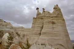 Seltsame vulkanische Felsformationen, Liebes-Tal, die Türkei, Cappadocia, Stockfoto