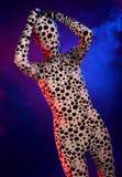 Seltsames Schattenbild im farbigen Rauche Stockbild