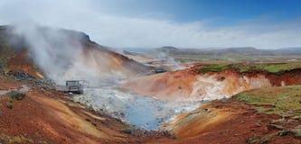 Seltun Island - aktivt vulkaniskt område i den Reykjanes halvön arkivbild