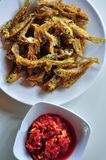 Seluang fish fried is an indonesia traditional food from palembang royalty free stock images