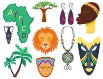 Selva dos ícones do vetor de África ilustração tradicional da cultura do curso tribal e da mulher do maasai do safari antigo afri ilustração stock