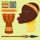 Selva dos ícones do vetor de África ilustração tradicional da cultura do curso tribal e da mulher do maasai do safari antigo afri ilustração royalty free