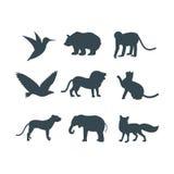 A selva dos animais selvagens pets a silhueta do logotipo do caráter geométrico do sumário do polígono e do jardim zoológico cria ilustração stock