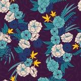 Selva floral con el modelo inconsútil de las serpientes, las flores tropicales y las hojas, vibrante dibujado mano botánica stock de ilustración