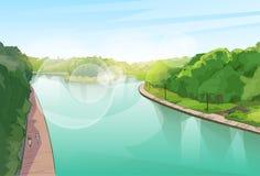 Selva Forest Green Landscape de la charca del río del agua Imagenes de archivo