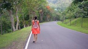 Selva tropical hermosa con un viajero de la mujer joven en el camino en el bosque Tailandia Paseos femeninos en una selva tropica almacen de video