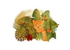 Selva tropical Tiger Cub Grunge Illustration de la selva tropical Imagenes de archivo
