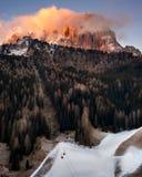 Selva Val Gardena di mattina, Val Gardena, dolomia, Italia immagine stock libera da diritti