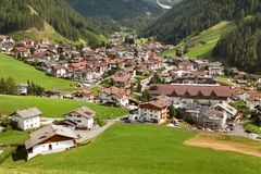 Selva Val Gardena or Wolkenstein and Gruppo di Sella Stock Photos