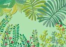 Selva verde Forest Background en colores pastel libre illustration