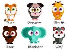 selvagem Animais bonitos ajustados para o uso como as etiquetas, imagens nos jogos Fotografia de Stock