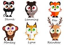 selvagem Animais bonitos ajustados para o uso como as etiquetas, imagens nos livros, les Imagens de Stock Royalty Free