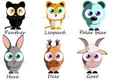 selvagem Animais engraçados ajustados para o uso como etiquetas, nos livros, jogos, fá Imagens de Stock Royalty Free