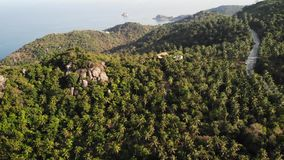 Selvas y montañas de la isla tropical Opinión del abejón de selvas verdes y de cantos rodados enormes en el terreno rocoso volcán metrajes