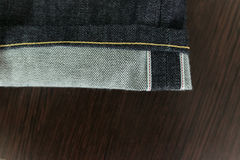 Selvedge denim jeans closeups Royalty Free Stock Photo