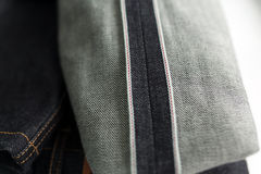 Selvedge denim jeans closeups Stock Photos