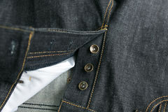 Selvedge denim jeans closeups Royalty Free Stock Photography