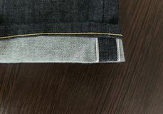 Selvedge denim jeans closeups Stock Photography