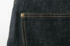 Selvedge denim jeans closeups Stock Image