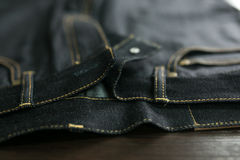 Selvedge denim jeans closeups Stock Images
