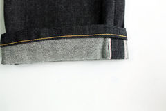 Selvedge denim jeans closeups Royalty Free Stock Photos