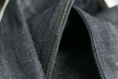 Selvedge denim jeans closeups Royalty Free Stock Images