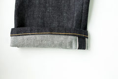 Selvedge denim jeans closeups Stock Photo