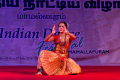 Selvi G. Subbashini, Chennai, Indian woman dancer. Indian dance festival - 2016 - Mamallapuram. January 9, 2016, Bharathanatyam Stock Photos