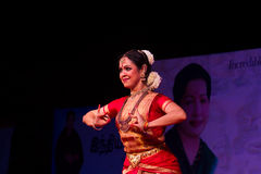 Selvi G. Subbashini, Chennai, Indian woman dancer. Indian dance festival - 2016 - Mamallapuram. January 9, 2016, Bharathanatyam Royalty Free Stock Images