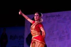 Selvi G. Subbashini, Chennai, Indian woman dancer. Indian dance festival - 2016 - Mamallapuram. January 9, 2016, Bharathanatyam Royalty Free Stock Photo