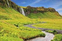 Selyalandfoss waterfall and fields Royalty Free Stock Photo