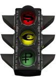 Semáforo con símbolos de moneda Fotografía de archivo libre de regalías